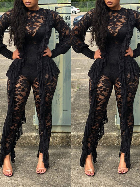Sexy See Through Lace Long Sleeve Jumpsuit