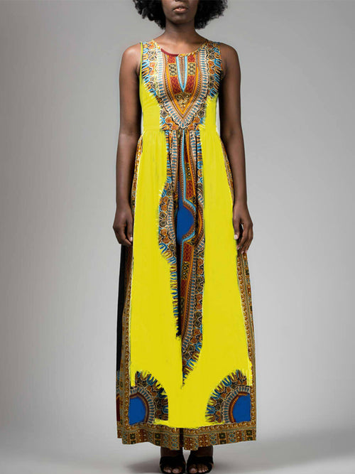 Sleeveless Patchwork Print Maxi Dress