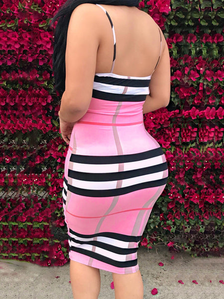 Backless Striped Slip Midi Dress