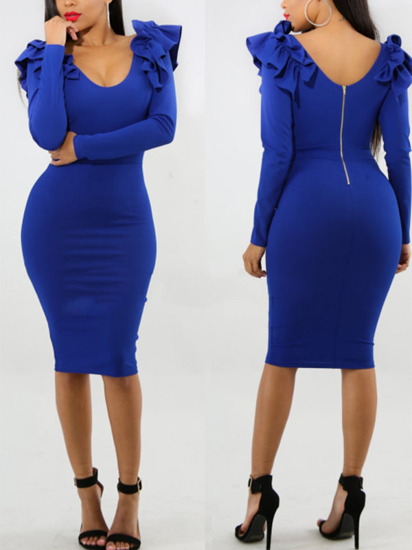 Sexy Solid Midi Dress With Ruffles