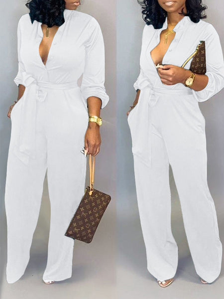 Solid Color Turndown Collar Long Sleeve Belted Jumpsuit