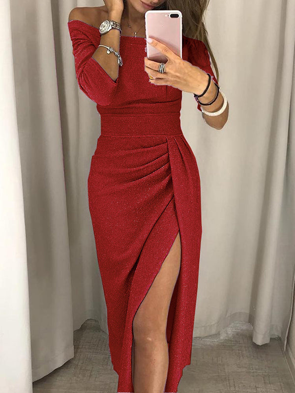 Off The Shoulder Side Slit Solid Color Party Dress
