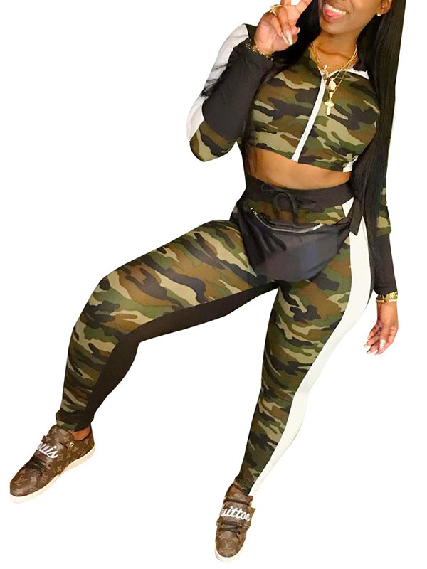 Camouflage Print Zipper High Waist Two Piece Outfits