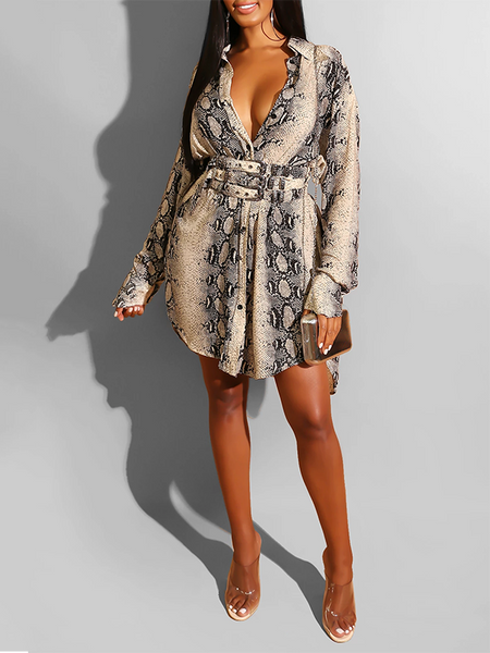 Snake Print Button Up Dress Without Belt