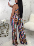 Sexy Halter Neck Print Backless Jumpsuit