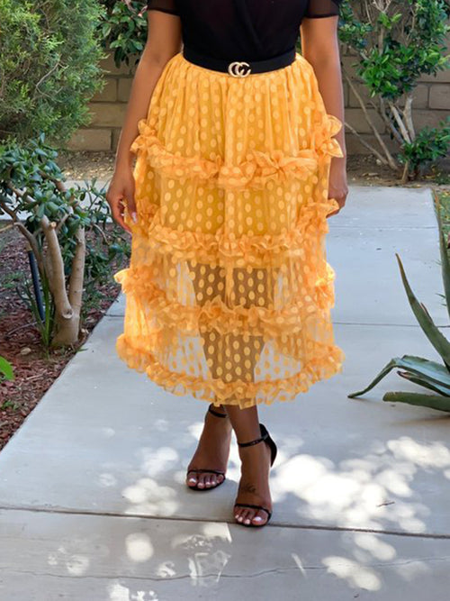 Polka Dot Net Yarn Ruffled Midi Skirt