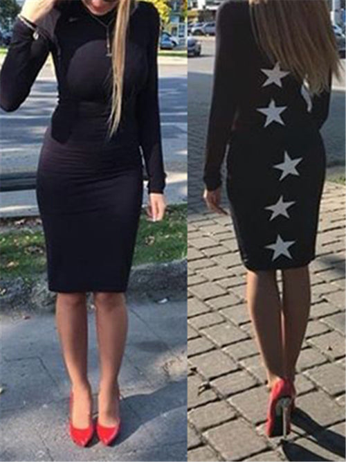 Star Print Long Sleeve Black Sheath Dress