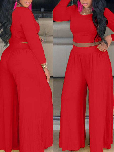 Solid Color High Waist Top & Wide Leg Pants