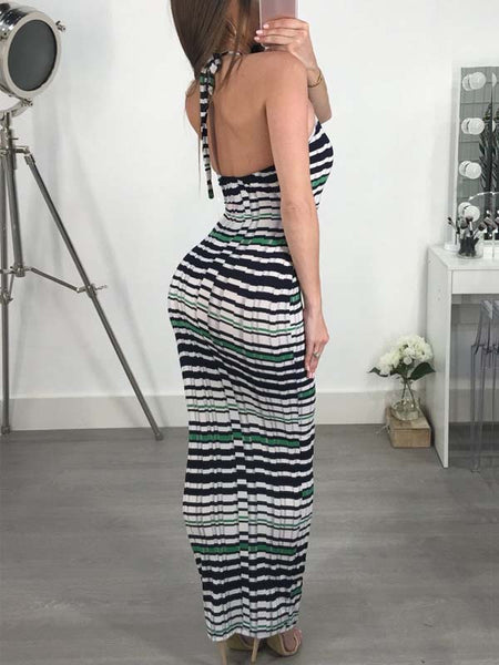 Sexy Print Backless Maxi Dress