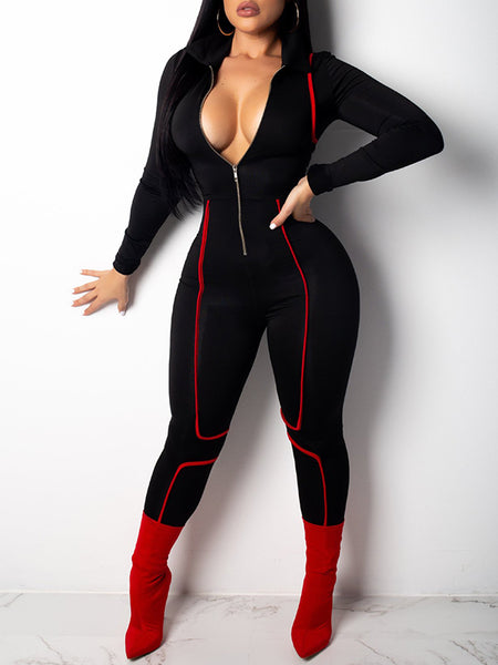 Zipper Up Solid Color Sexy Long Sleeve Jumpsuit