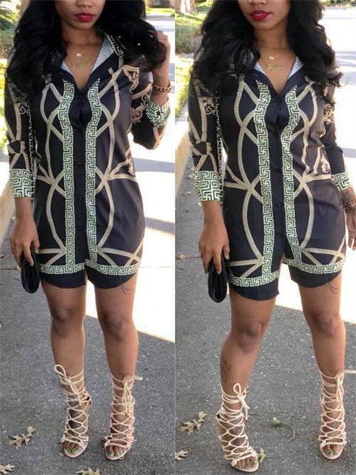 Button Up Long Sleeve Printed Shirt Dress
