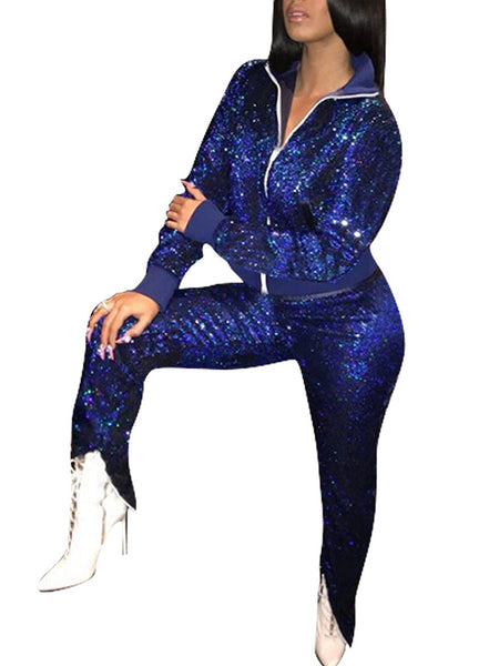 Sequined Zipper Up Turndown Collar Party Two Piece Outfits