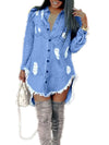 Distressed Hole Fringed Irregular Hem Denim Dress