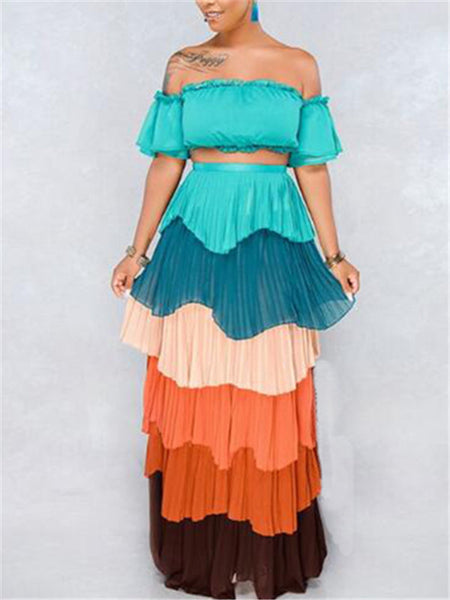 Off the Shoulder Tiered Two Piece Dress