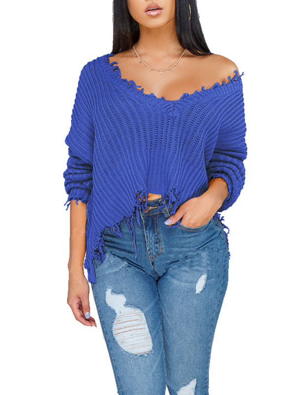 Edge Distressed Off One Shoulder Solid Color Sweater