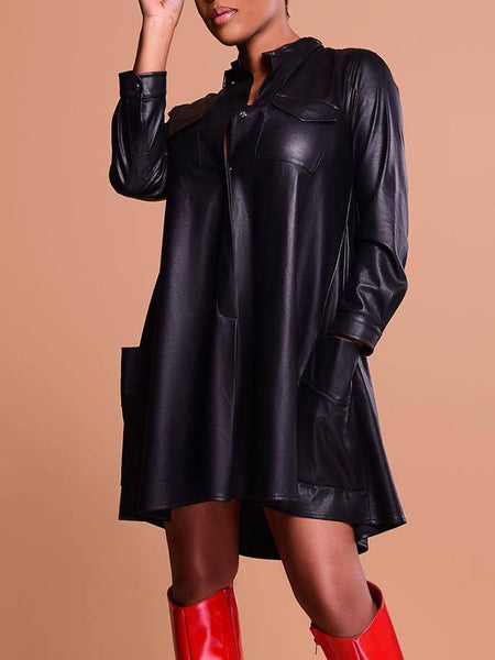 Leather PU High Neck Pocket Casual Dress