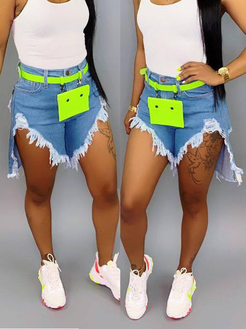 High Low Hem Fringed Denim Shorts