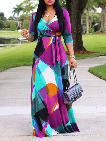 Printed V-Neck Half Sleeve High Waist Maxi Dress