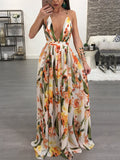 [Special Sale]Sexy Deep V-neck Chiffon Maxi Dress