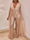 Open Back Deep V-neck Sequined Net Yarn Splicing Party Jumpsuit