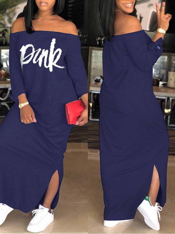 Letter Print Off The Shoulder Casual Dress
