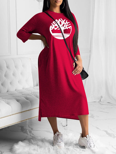 Embroidered Three Quarter Sleeves Solid Color Dress