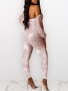 Off The Shoulder Sequined Club Jumpsuit