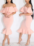 Off The Shoulder Ruffles One-piece Midi Dress