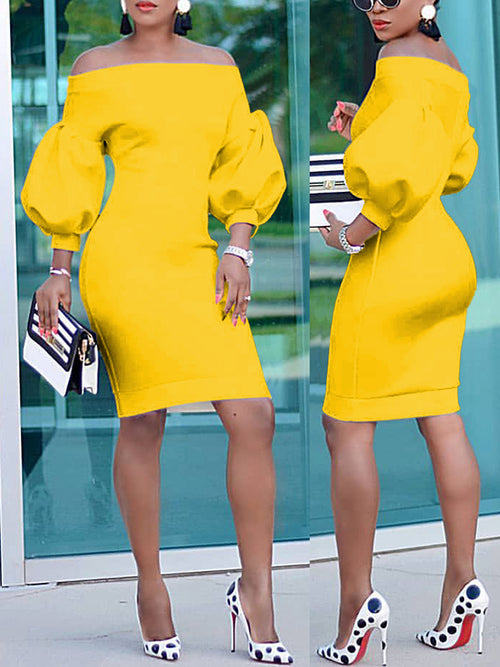 Off The Shoulder Puff Sleeve Bodycon Midi Dress