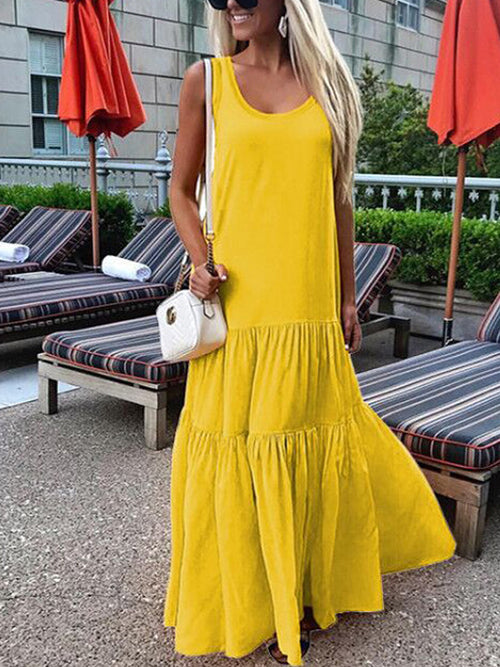 Solid Sleeveless Maxi Dress