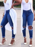 [Special Sale]High Waist Skinny Broken Holes Long Jeans