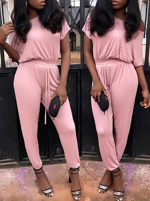Solid Casual Skew Neck Short Sleeves Jumpsuit