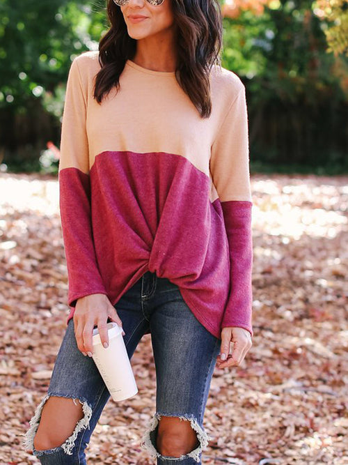 Color Block Long Sleeve Round Neck Blouse