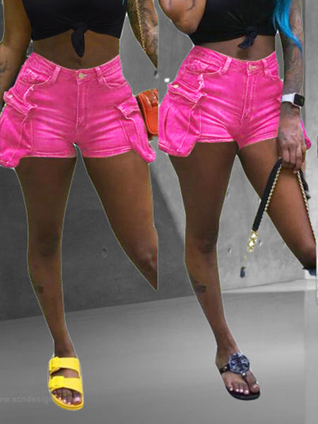 Solid Color Pocket Denim Shorts