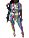 Cartoon Sequins Rainbow Striped Two Piece Sets