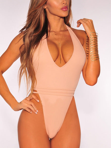 Solid Backless One Piece Swimwear