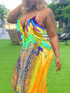 Tie Up Colorful Printed Maxi Dress