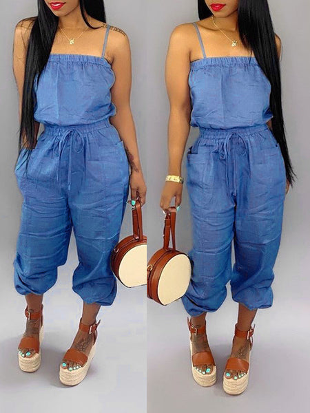 Sleeveless Pocket Solid Color Jumpsuit