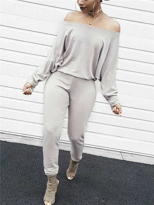 Batwing Sleeve Off the Shoulder Solid Color Casual Jumpsuit