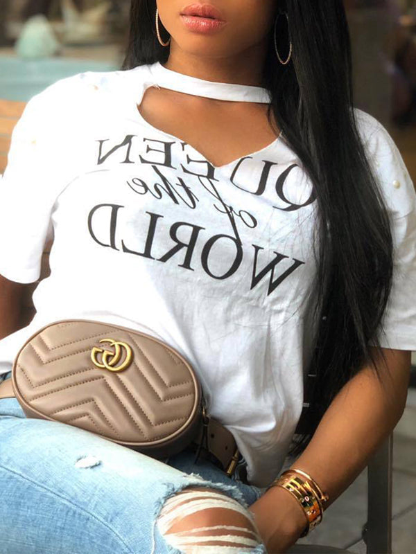 Fashion Casual Hollow Out Letter Print T-shirt