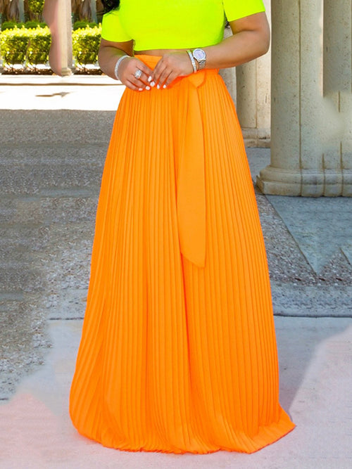 Chiffon Solid Color Bowknot Maxi Skirt