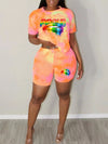 Cartoon Lip Print Short Sleeve Top & Shorts