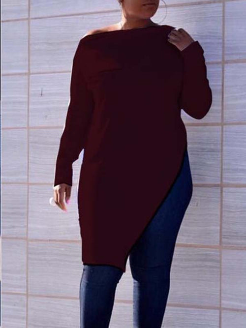 Boat Neck Solid Color Long Sleeve Asymmetric Blouse