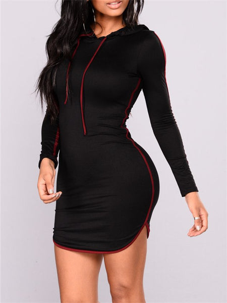 Hooded Collar Long Sleeve Mini Dress