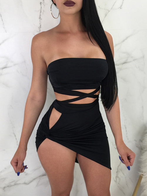 Sexy Solid Bandage Two Pieces Dress