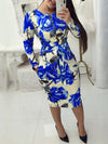 Fashion Print Zipper Long Sleeve OL Midi Dress