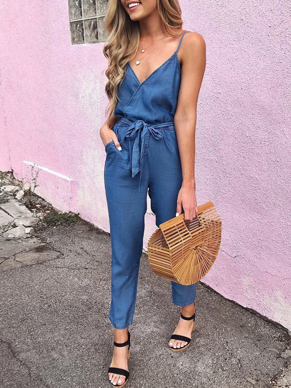Denim V-neck Solid Sleeveless Jumpsuit With Belt