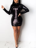 Sequin Open Back Party Mini Dress