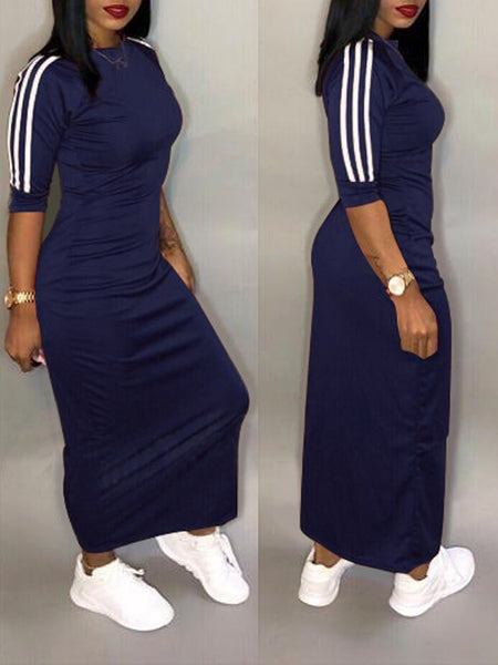 Casual Stripe Midi Dress Plus Size