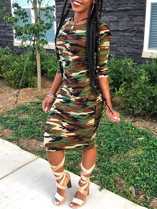 Camouflage Long Sleeve Casual Midi Dress